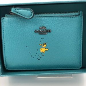 Coach Peanuts Woodstock Coin Card Case w/key ring